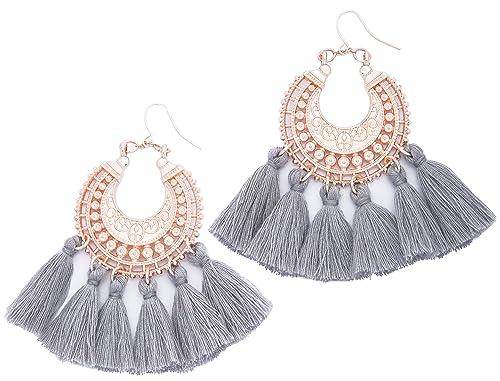 ebe48eeb1 Rose Gold Tassel Earrings: Grey fringe gifts for women. Fashion drop dangle  tassle earing