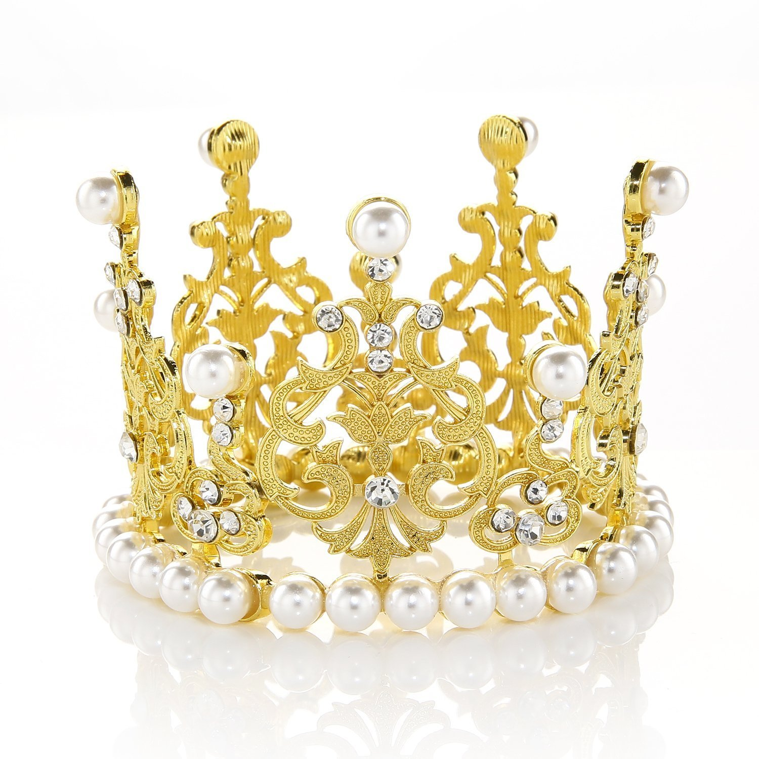 Amazon.com: JANOU Crown Tiara Cake Topper Crystal Pearl Children ...