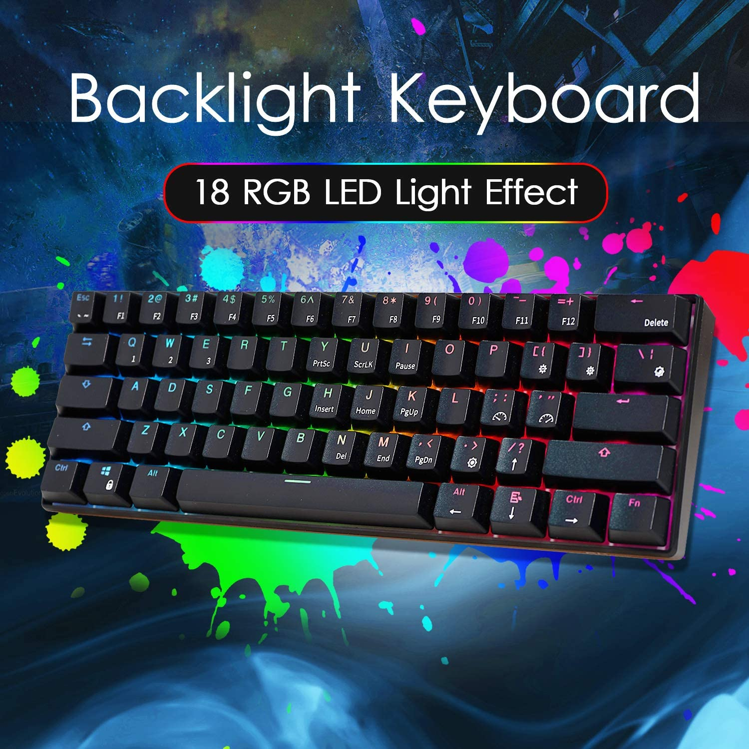 ROYAL KLUDGE RK RK61 Wired 60% Mechanical Gaming Keyboard RGB Ultra-Compact (Blue Switch) 3