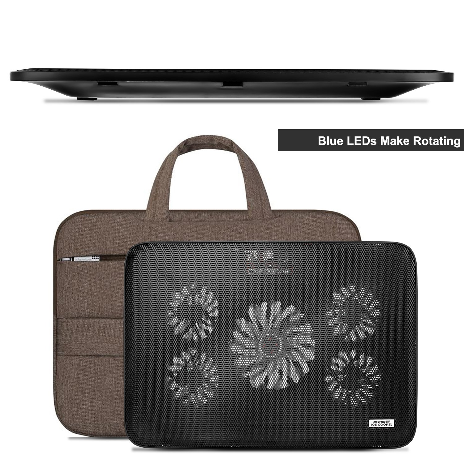 NO.17 Laptop Cooler Cooling pad, Portable Ultra-Slim Quiet Laptop Cooling Pad with 5 USB Powered Fans, Fits 10-15.6 inches by NO.17 (Image #5)