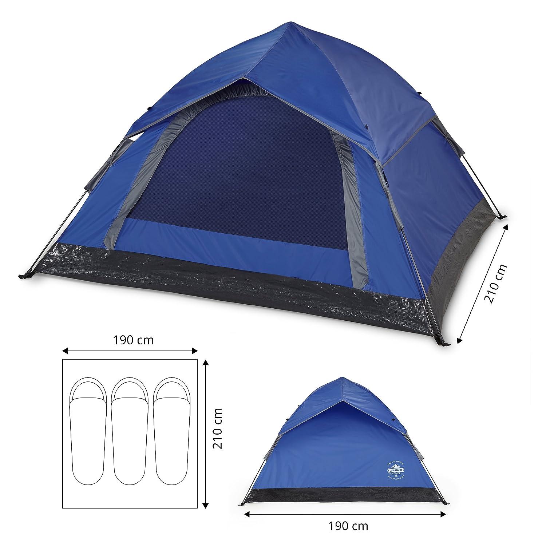 Lumaland Outdoor leichtes Pop Up Wurfzelt 3 Personen Zelt Camping ...