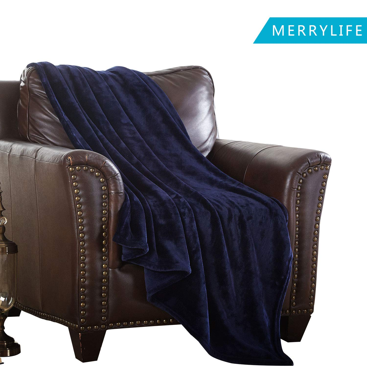 MERRYLIFE Decorative Throw Blanket Ultra-Plush Comfort | Soft, Colorful, Oversized | Home, Couch, Outdoor, Travel Use | Large Size (90'' 102'', Navy)