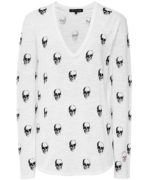 34fc25c57 360 Sweater Mujeres Camiseta del cráneo del v-Cuello del Aya Blanco L:  Amazon.es: Ropa y accesorios