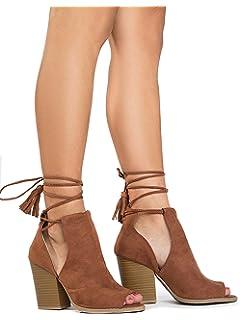 853b10016de0 J. Adams Cady Ankle Bootie - Lace Up Peep Toe Cutout Mule Stacked High Heel