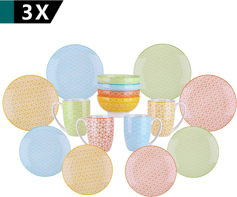 Vancasso 4 pi/èces assiettes plate en porcelaine style japonais s/érie Natsuki