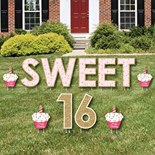 product image for Big Dot of Happiness Sweet 16 - Yard Sign Outdoor Lawn Decorations - Happy Birthday Yard Signs