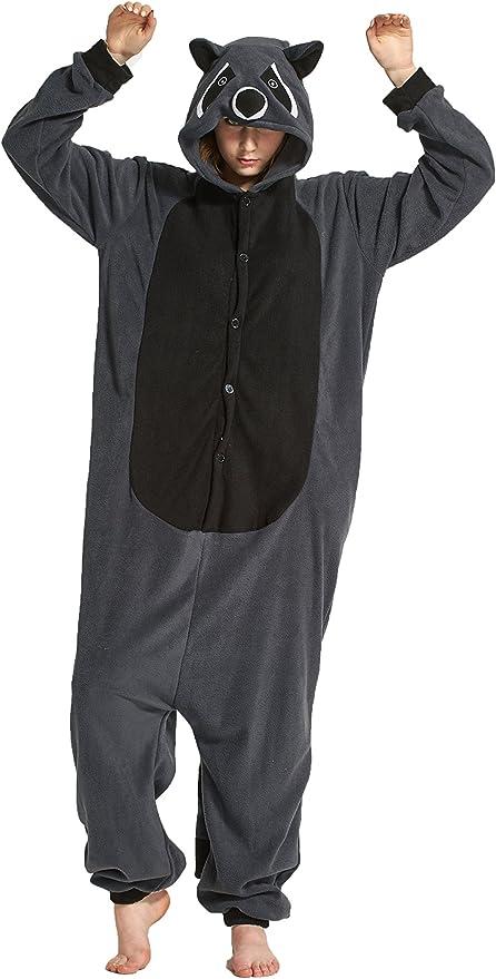 Fandecie Costume Animal Costume Animal Pyjamas Pyjamas Combinaison Kigurumi Racoon Femme Homme Cosplay Adulte pour Carnaval Animal Carnaval Halloween
