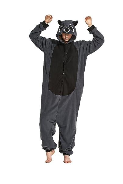 Fandecie Animal Costume Animal Traje Pijamas Pijamas Jumpsuit Kigurumi Gris Mapache Mujer Hombre Cosplay Adulto para