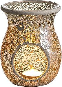 4.5X5.5 Inch Mosaic Glass Oil Burner, Fragrance Oil Burner,Tealights Wax Melt Holder for Gifts & Home Decoration (Ivory)
