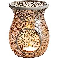 4.5X5.5 Inch Mosaic Glass Oil Burner, Fragrance Oil Burner ,Tealights Wax Melt Holder for Gifts & Home Decoration (Ivory…