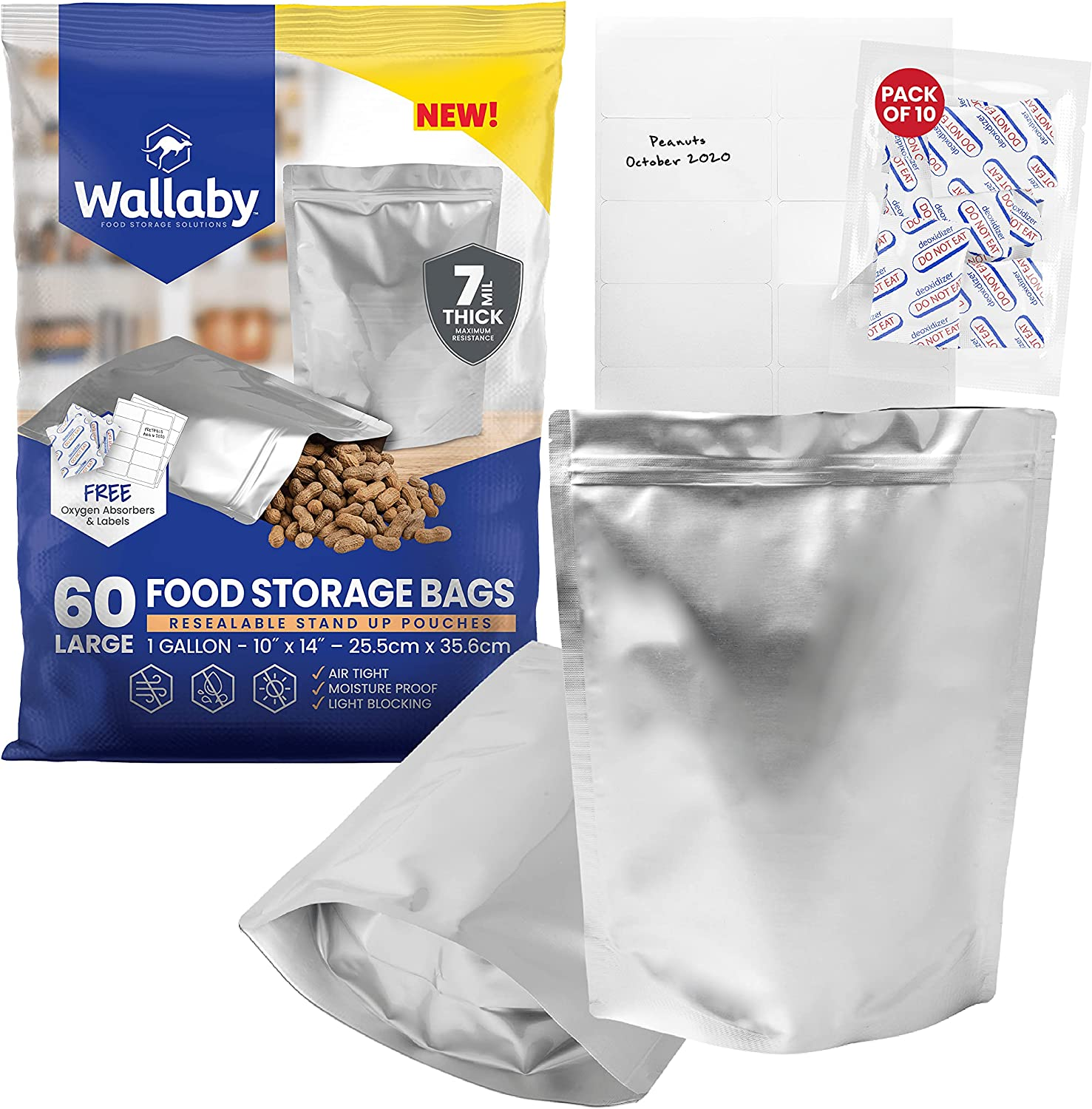 60 Wallaby Mylar Bag Bundle - 1 Gallon Stand-Up Zipper Pouches - (7 Mil-10''x14''), Oxygen Absorbers, Labels - Resealable Zipper, Heat Seal, FDA Grade, for Long Term Food Storage (Standard Silver)