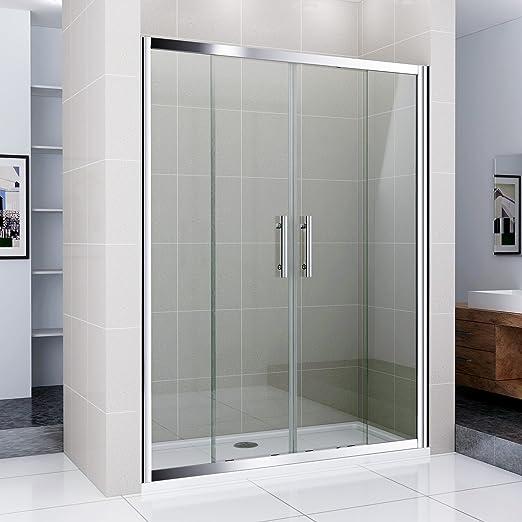 140 cm Mampara de ducha puerta doble pared nichos Puerta ducha de ...