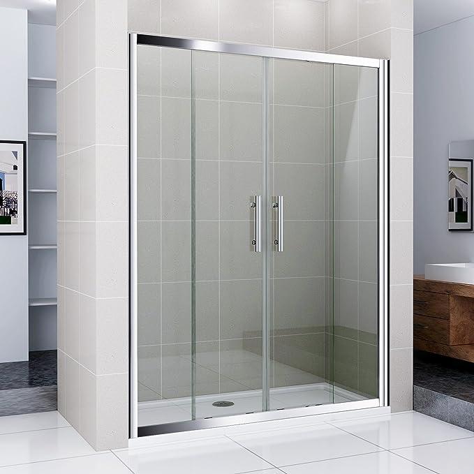140 cm Mampara de ducha puerta doble pared nichos Puerta ducha de cristal real con ducha Taza 140 x 80 cm: Amazon.es: Hogar