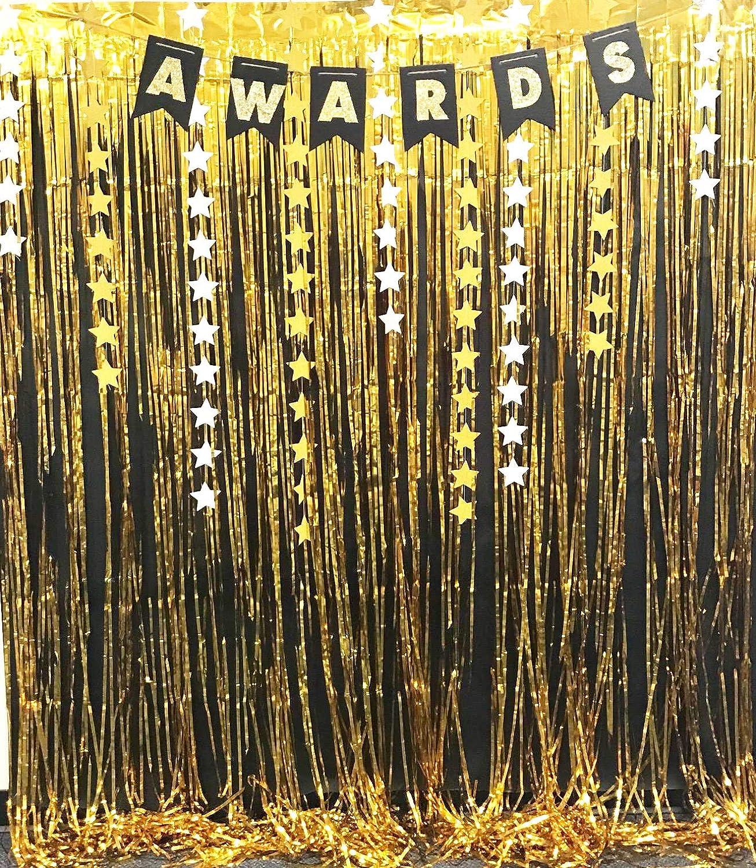 2PCS 3.2 ft x 9.8 ft Gold Metallic Curtains for Party Photo Backdrop Decorations VIGUEUR Foil Fringe Curtain