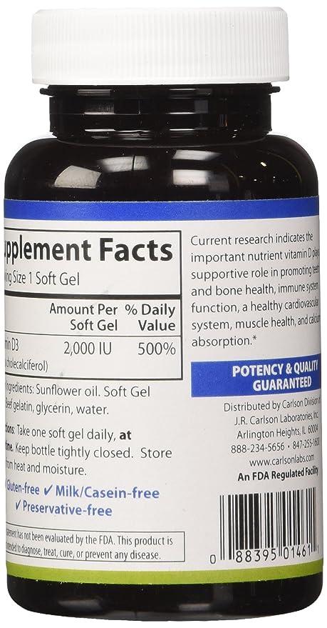 Carlson Labs -Vitamina D3 2000 IU - 120 cápsulas: Amazon.es: Salud y cuidado personal