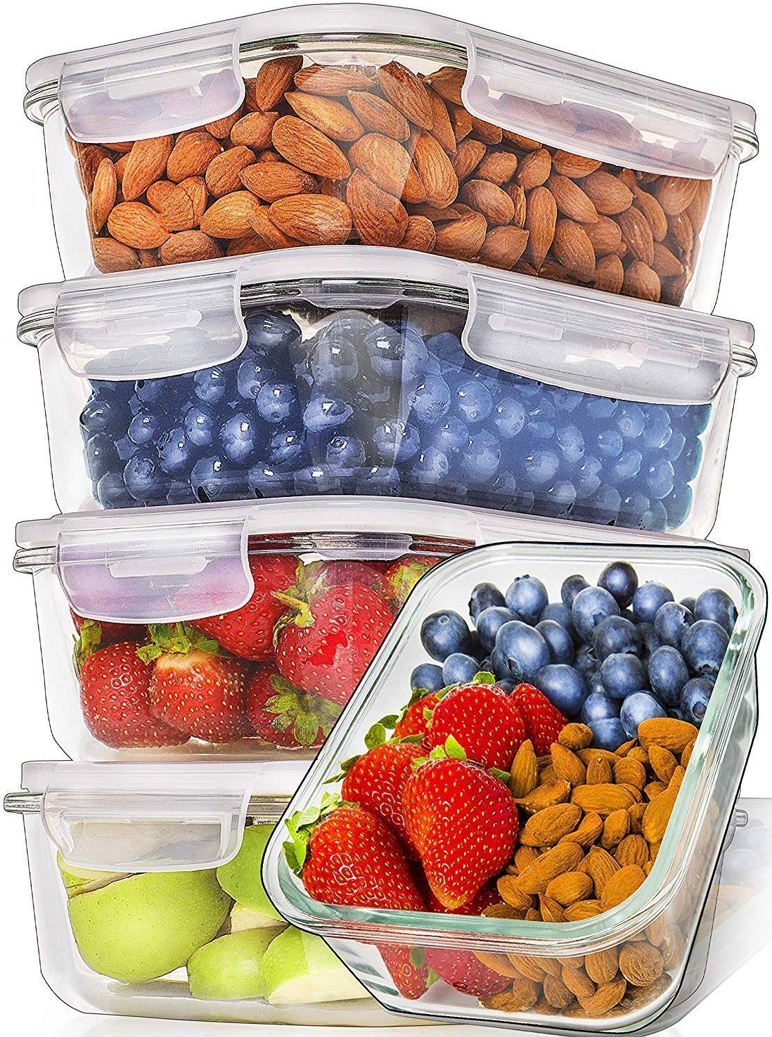 Prep Naturals Glass Meal Prep Containers (5 Pack, 36 Ounce) - Glass Food Storage Containers with Lids - Food Containers Food Prep Containers Glass Storage Containers with Lids Glass Lunch Containers by Prep Naturals