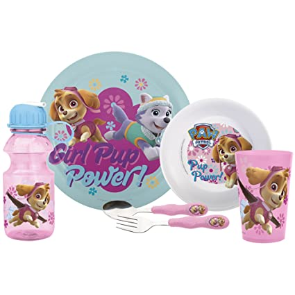 Dishwasher Safe Bowl and Tumbler Melamine Dinnerware Set for Kids Break Resistant and BPA Free Paw Patrol Girls 3-Piece Mealtime Set with Plate