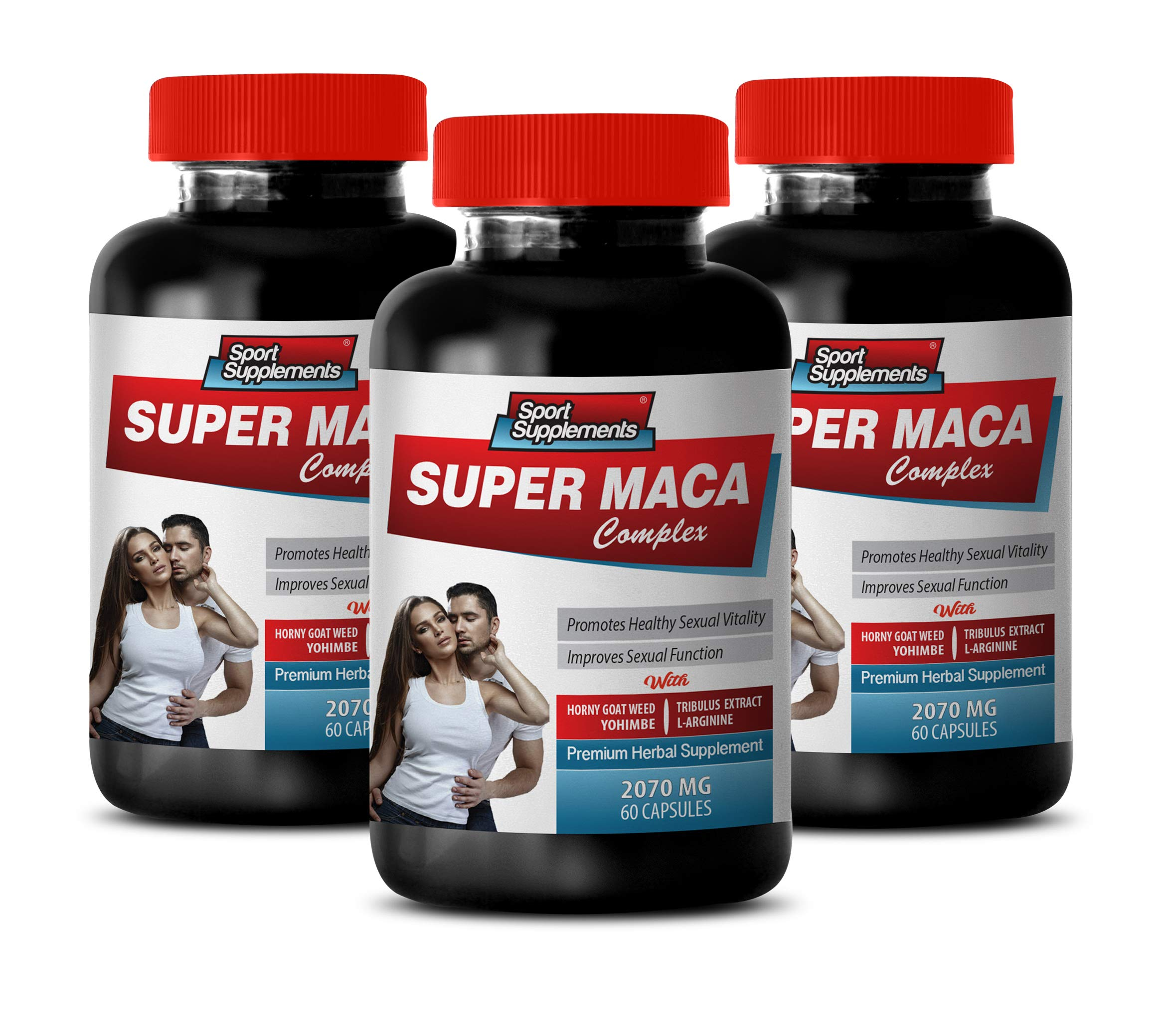 Male Enhancing Pills Last Longer in Bed - Super MACA Complex - Premium Herbal Supplements - yohimbe Supplement for Men - 3 Bottles 180 Capsules by Sport Supplements