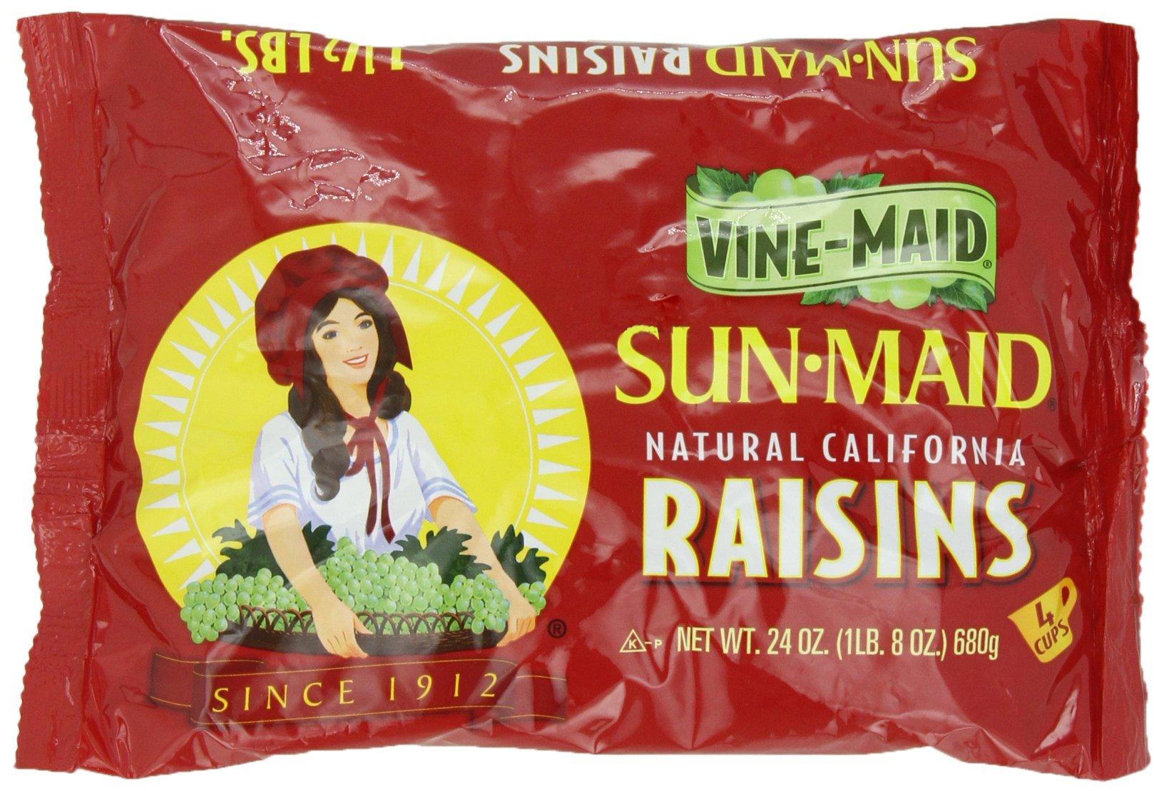 Sun Maid California Raisins Bag, 24 Ounce (Pack of 12)