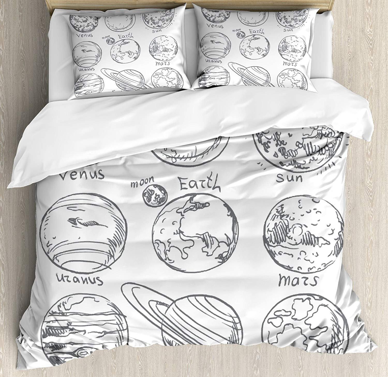 Full Size Doodle 3 PCS Duvet Cover Set, Planets of Solar System Sun Mercury Earth Moon Mars Neptune Saturn Jupiter Science, Bedding Set Quilt Bedspread for Children/Teens/Adults/Kids, Black White