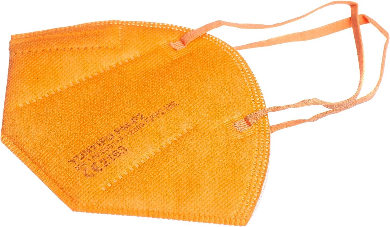 Yunyifu Máscarilla Premium FFP2 Certificación CE 5 Capas Máscara Ffp2 Filtros 95% Pack de 10 Piezas Colores (Pack 100, Naranja)
