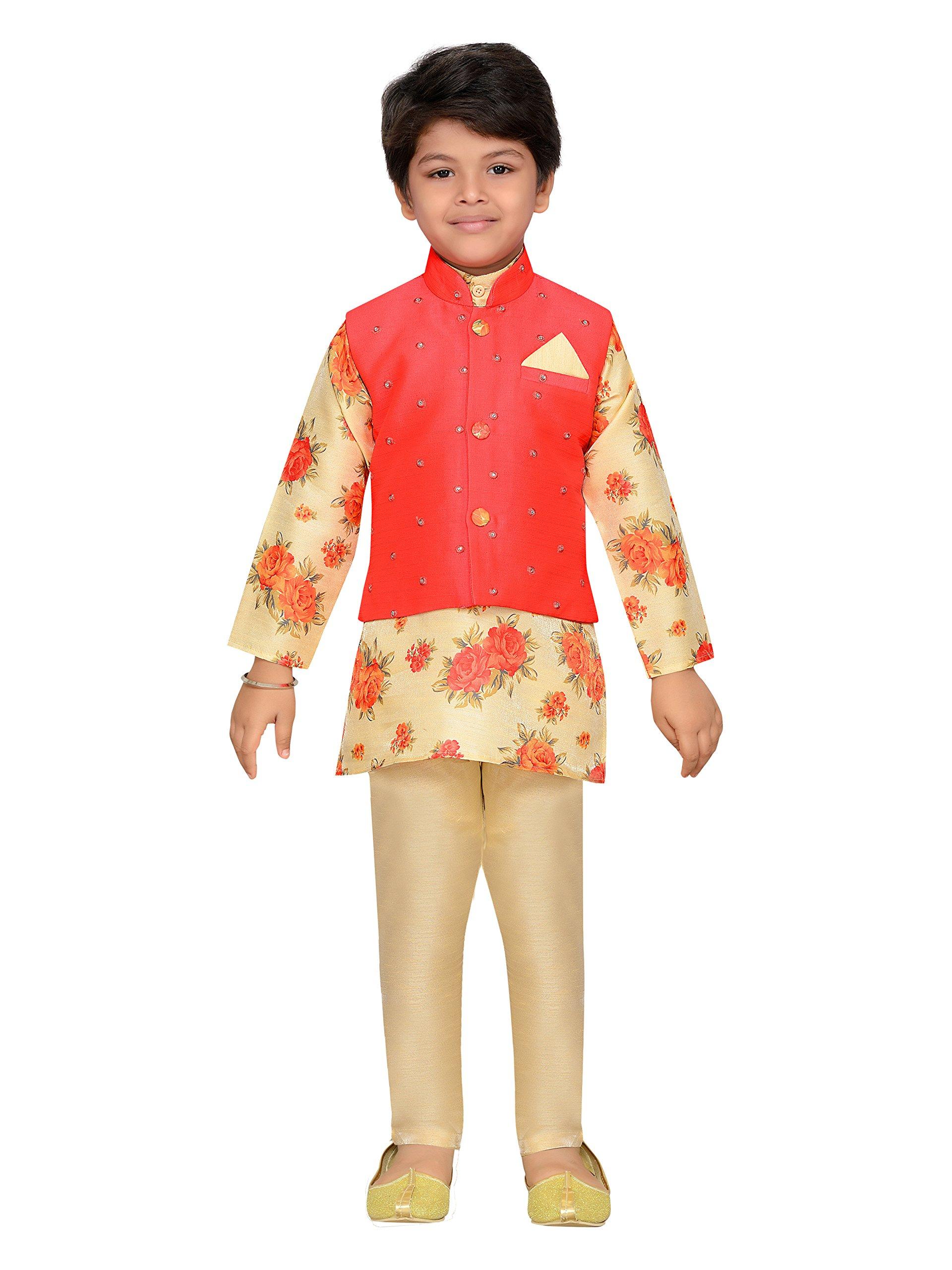 AJ Dezines Kids Indian Wear Bollywood Style Kurta Pyjama Waistcoat for Boys (638-GAJRI-4)