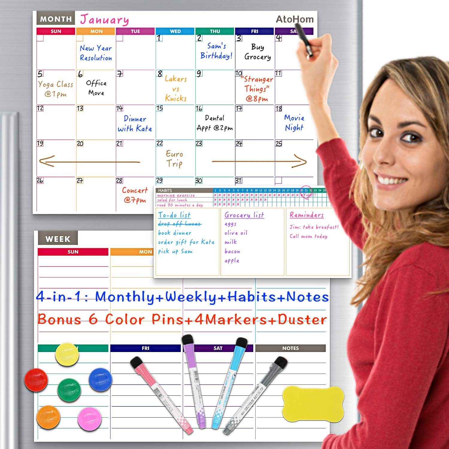 Calendar Whiteboard Dry Erase Magnetic for Refrigerator 4 in 1: Monthly, Weekly Planner, Habit Tracker and Notepad for Wall and Fridge Family Calendar. Bonus 6 Color Pins 4 Markers and Eraser Included