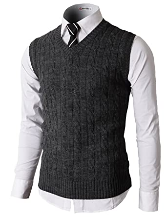 H2h Mens Casual Slim Fit Soft Acrylic Solid Pullover Cable Sweater