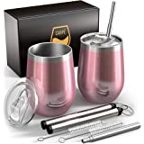 Carpe 12 oz Stemless Insulated Wine Glass Tumbler with Sliding Lid and Straw, Spill Proof Stainless Steel Double-Wall Wine Tu