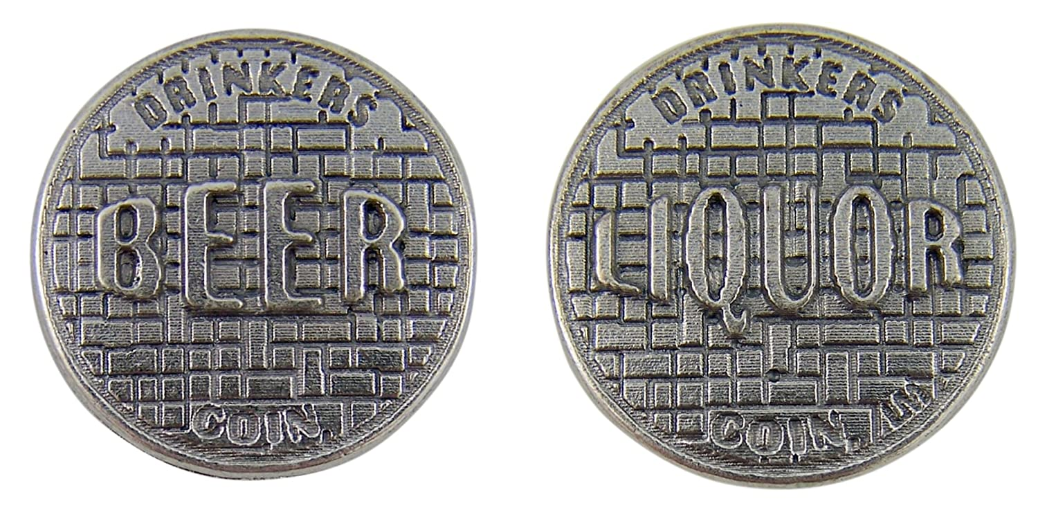 Pack of 3 1 1//8 Inch Silver Tone Hit on Her or Keep Drinking Novelty Pocket Token Gift for Adults