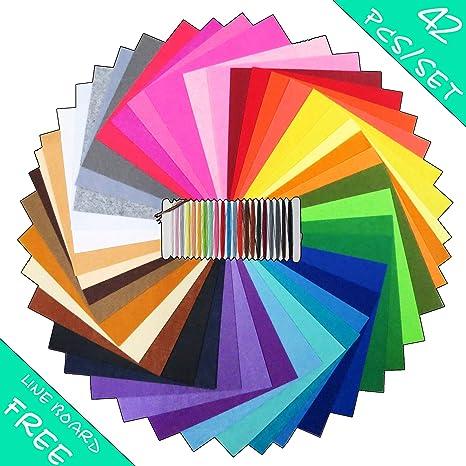 flic-flac 42pcs 8x8 Felt Fabric Sheet Assorted Color Felt Pack DIY Craft Squares Nonwoven 20x20cm