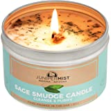 Sage Candle for Cleansing, Meditation, Chakra Healing, Protection + Smokeless Alternative to Sage Smudge Sticks, Incense, Bun