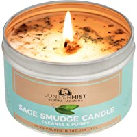Sage Candle For Cleansing, Meditation, Chakra Healing, Protection + Smokeless Alternative to Sage Smudge Sticks, Incense…