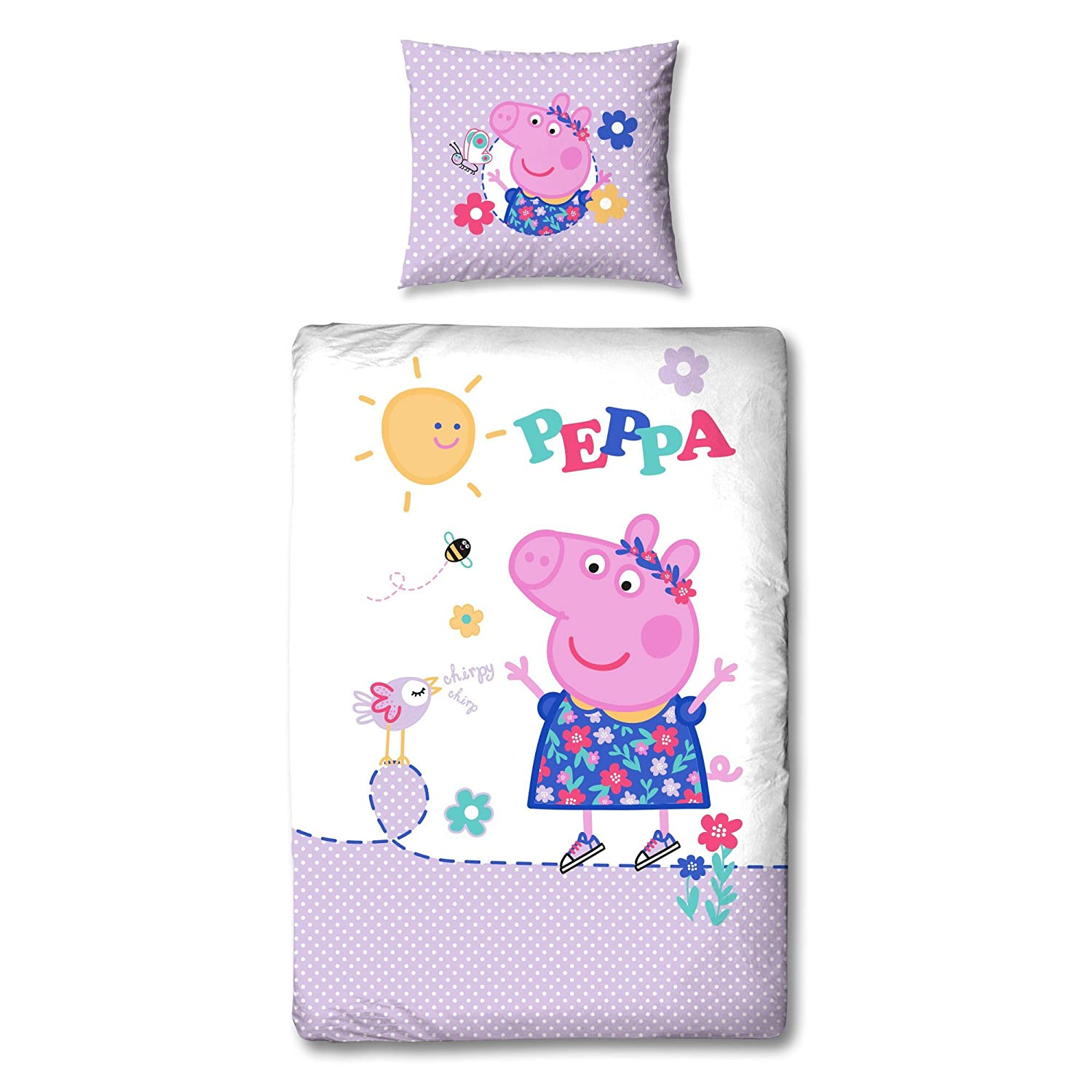 Peppa Pig Flannel Bed Linen Reversible - Design Chipy – Pillowcase 31, 5 inch x 31, 5 inch - Duvet Cover 53, 15 inch x 78, 74 inch - 100% Cotton - (german standard size) BERONAGE