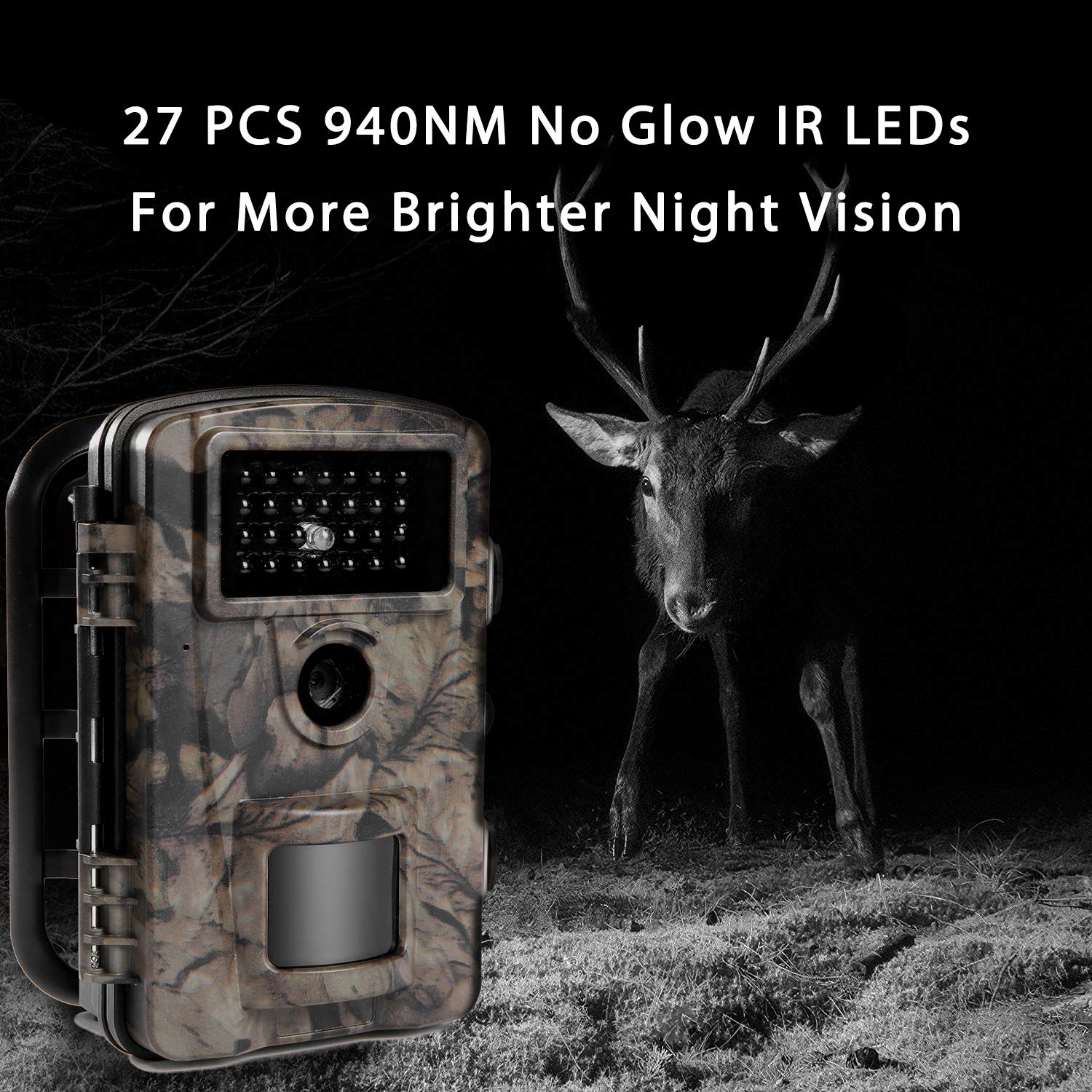 Siensen Trail Camera 12MP 1080P 2.4'' LCD Wildlife Hunting Camera with 90° Wide Angle, Night Vision Up to 65ft/20m, IP66 Waterproof Design Wildlife Surveillance Game Camera by Siensen (Image #3)