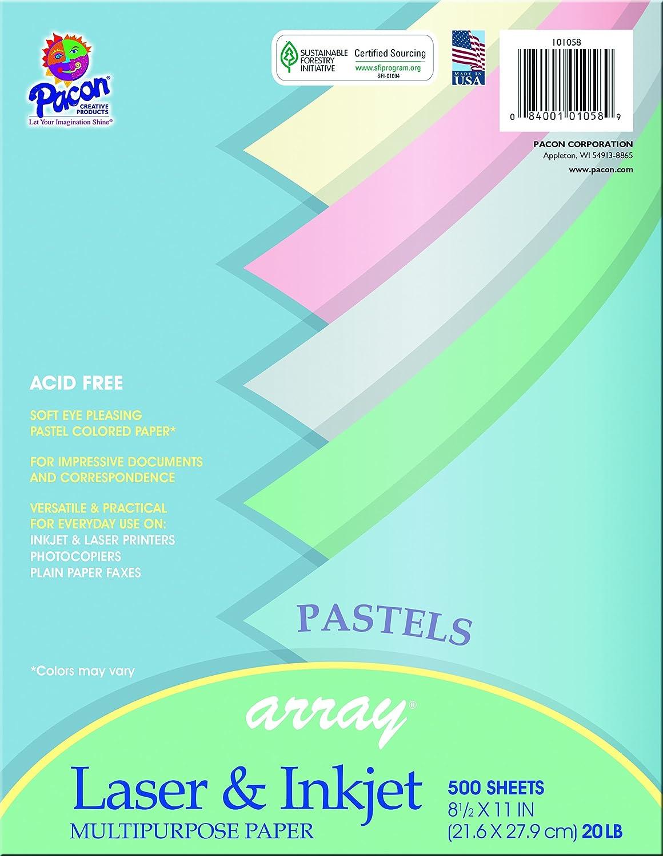 Amazon.com : Pacon Assorted Pastel Multi-Purpose Paper, 8.5-in. x 11 ...