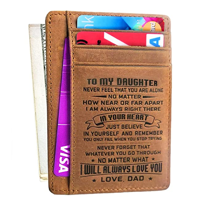 Amazon Engraved Wallet Gift For Dad Mom To Son Daughter Leather