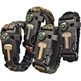 Paracord Survival Bracelet with a 550LB Parachute Cord, Fire Starter, Embedded Compass, Flint, Emergency Knife & Whistle. A Pack of Four for Outdoors,Camping and Survival Situations.