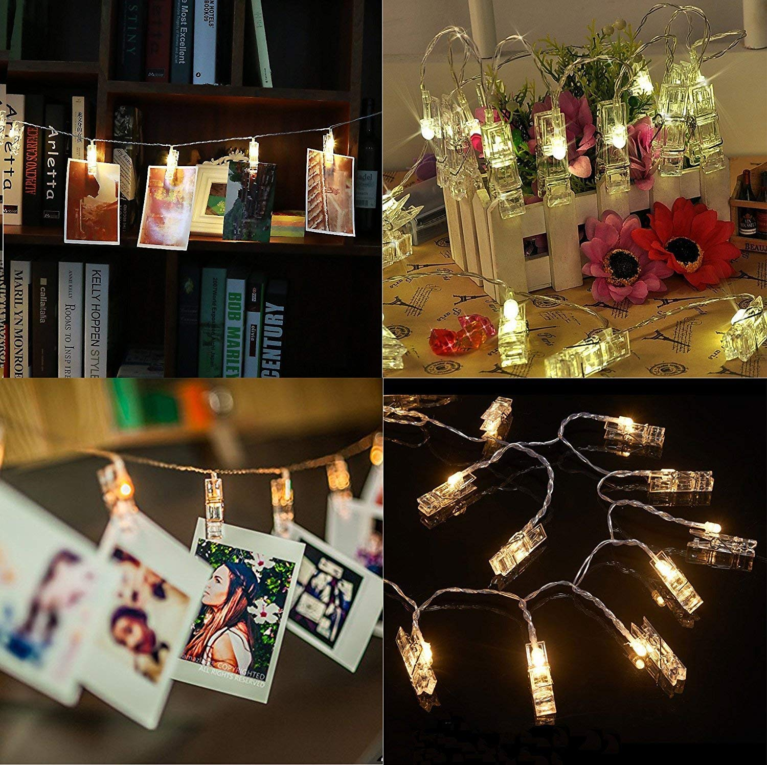 2 pack Halloween Decoration 40 LED Photo Clips String Lights Battery Operated Waterproof 20ft Fairy Light Long Lasting Indoor Girls Bedroom Hang Picture Outdoor Wedding Party Christmas Birthday Gift by Symfury (Image #7)