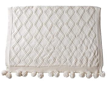 Amazon.com: Cable Knit Pom Pom - Manta para bebé, Crema: Baby