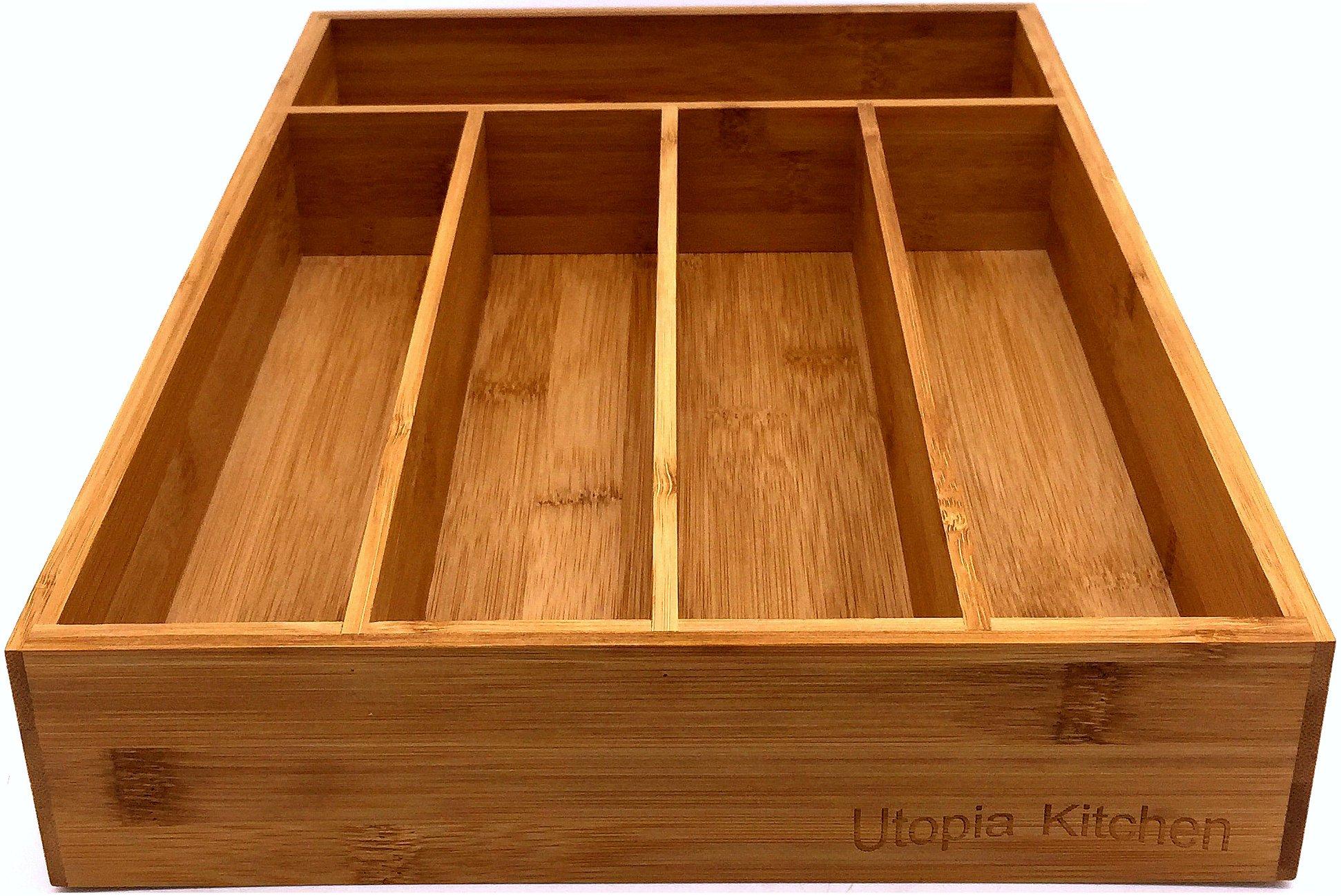Utopia Kitchen Bamboo Kitchen Tray Organizer - Bamboo Drawer Organizer - Silverware Tray - Bamboo Hardware Organizer - 5 Compartments by Utopia Kitchen (Image #2)