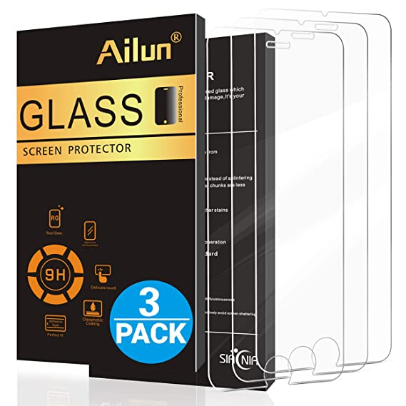 the best attitude a6f5d 6b0b3 Ailun Screen Protector Compatible with iPhone 8 7 6s 6 4.7 Inch 3 Pack 2.5D  Edge Tempered Glass Compatible with iPhone 7 8 6s 6 Case Friendly