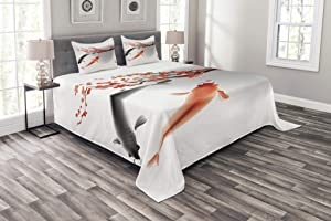Ambesonne Japanese Bedspread, Koi Carp Fish Couple Swimming with Cherry Blossom Sakura Branch Culture Design, Decorative Quilted 3 Piece Coverlet Set with 2 Pillow Shams, Queen Size, Orange Grey