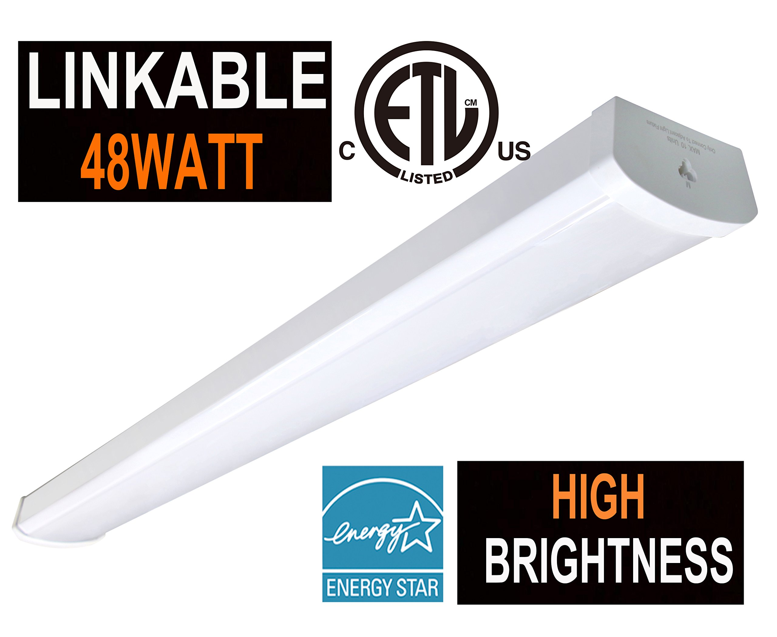 ETL and 48W Linkable LED Wraparound Flushmount Light 4FT,4000Lumens 5000K