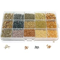 Beadsnfashion Jewellery Making Seed Beads Shades Of Earthy Color Tones DIY Kit, 15 Colors