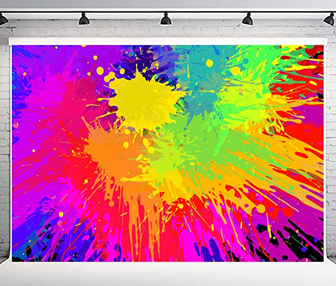 Zhy Paint Splatter Backdrop Abstract Cartoon Painting Photography Background 7x5ft Themed Party Photo Booth Backdrop GEEV403