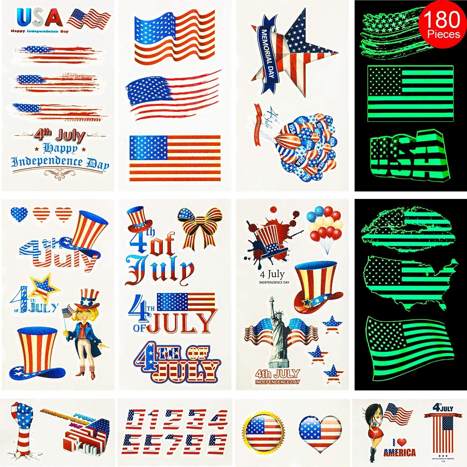 Hicarer Fourth of July Tattoos 180 Pieces 48 Sheets USA Tattoos Patriotic Independence Day Temporary Tattoos Including 24 Pieces Luminous Tattoos for Party Decor Party Supplies