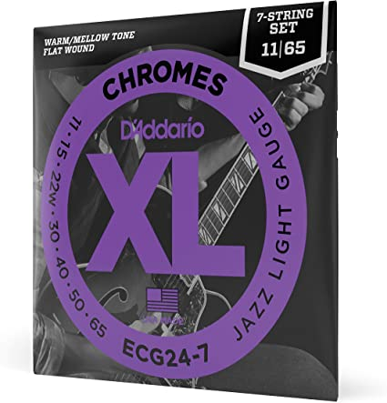 Amazon Com D Addario Ecg24 7 Xl Chromes Flat Wound Electric Guitar Strings Jazz Light Gauge 11 65 1 Set Ribbon Wound And Polished For Ultra Smooth Feel And Warm Mellow Tone Sealed Pouch Prevents