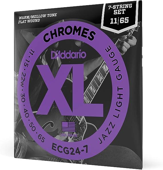 D'Addario ECG24-7 XL Chromes Flat Wound Electric Guitar Strings
