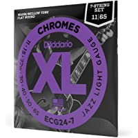 """D€™Addario ECG24-7 XL Chromes Flat Wound Electric Guitar Strings, Jazz Light Gauge, 11-65 (1 Set) €"""" Ribbon Wound and Polished for Ultra-Smooth Feel and Warm, Mellow Tone €"""" Sealed Pouch Prevents Corrosion"""